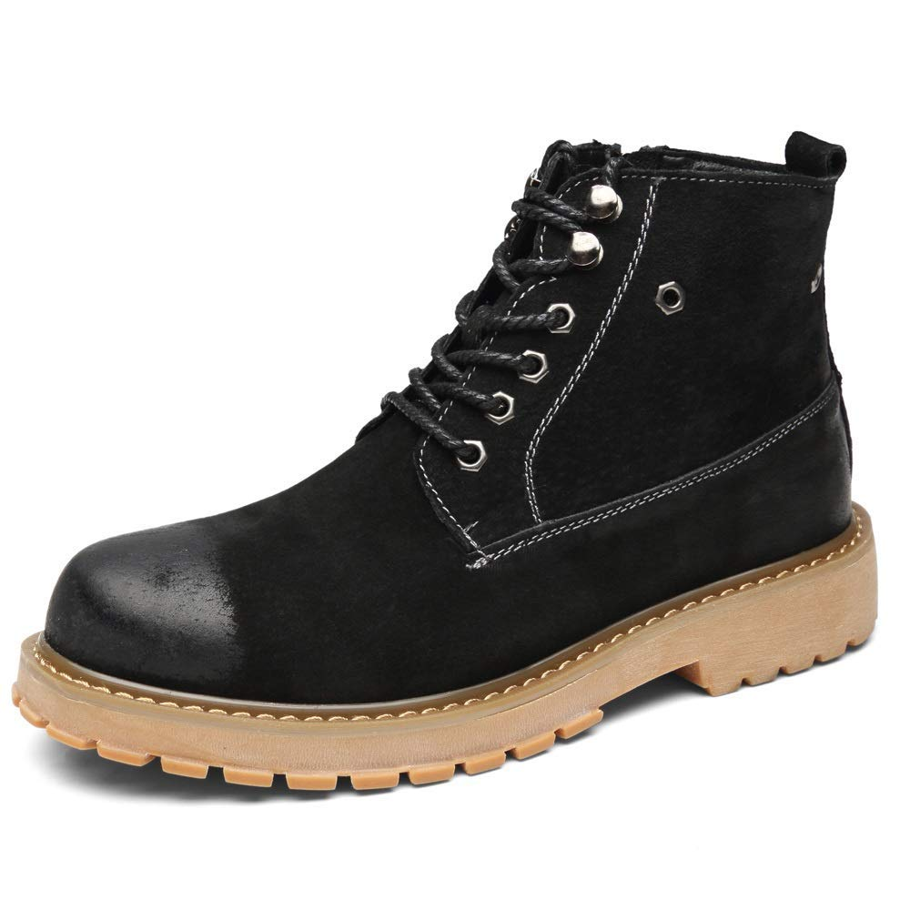 Black MON5F HOME Safety Toe Boot Men's Premium Leather Soft Toe Light Weight Industrial Construction Moc Work Boots Insulated (color   Grey, Size   42)