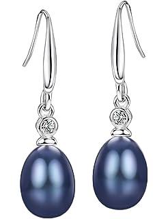c2684a62b Mints Natural Black Pearl Earrings Sterling Silver Dangle Drop Earrings for  Women