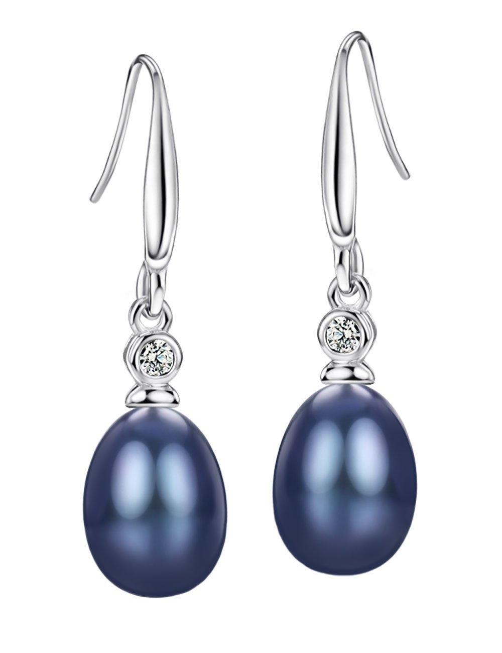 Black Freshwater Pearl Earrings Drop Sterling Silver Cubic Zirconia Earrings Fine Jewelry for Women