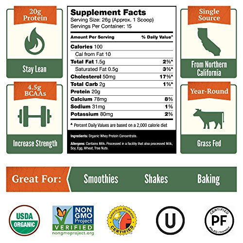 Natural Force® Undenatured Organic Whey Protein Powder *UNFLAVORED* Grass Fed Whey from California Farms – Raw Organic Whey, Paleo, Gluten Free, Natural Whey Protein, 13.76 oz. Bulk by Natural Force (Image #6)'