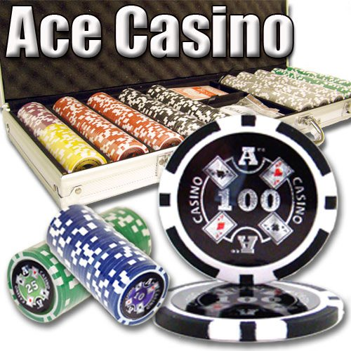 - 500 Count Ace Casino Poker Set - 14 Gram Clay Composite Chips with Aluminum Case, Playing Cards, & Dealer Button for Texas Hold'em, Blackjack, & Casino Games by Brybelly