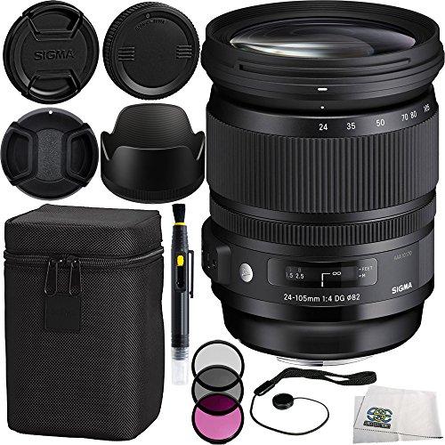 Sigma 24-105mm F/4 DG OS HSM Art Lens for Nikon Bundle Includes Manufacturer Accessories + 3PC Filter Kit + Lens Cap + Lens Pen + Cap Keeper + Microfiber Cleaning Cloth (24 105mm F4 Dg Os Hsm Art)