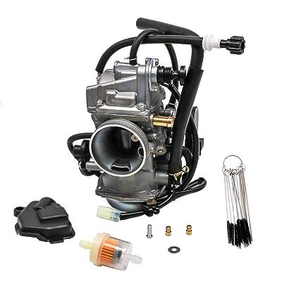 KIPA Carburetor for Honda TRX 400 Rancher TRX400FA TRX400FGA 4X4 AT 2004-2007, Replace OEM J16100-HN7-013, With Carbon Dirt Jet Cleaner Tool Kit & Fuel Filter: Automotive