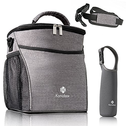 Lunch Box | Insulated Lunch Bag |Lunch Bags for Women | Lunch Bag for Work, School, Picnic or BBQ | Leakproof Lunch Bag for Men| With Thermal Bottle Sleeve