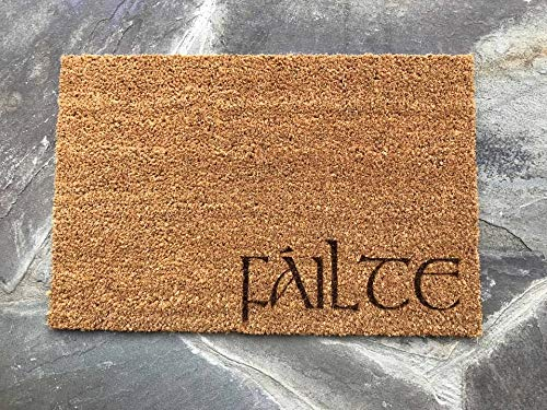 FAILTE Irish Gaelic Celtic Welcome Door Mat Doormat Front Entry Way Laser Burnt Natural Trampa Ikea Brand Cead Mile FREE Shipping