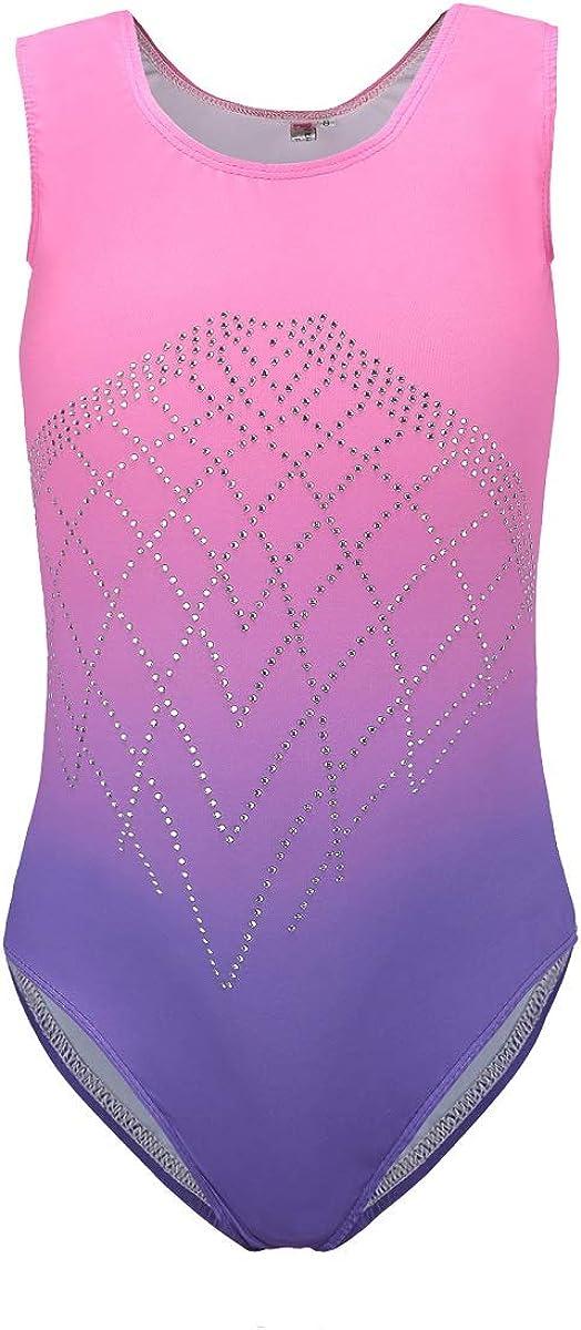 B68 Purple DoGeek Gymnastics Leotards for Girls Gradient Color Sparkle Leotard Dancing Ballet Gym Athletic one-Piece Leotards for Little Girl