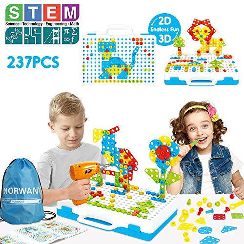 STEM Toys Kit | Arts and Crafts Building Block Gifts for Boys & Girls Age 3,4,5,6+ Year Old | Educational Construction Fine Motor Skills Toy with Drill | Creative Games and Fun Activity