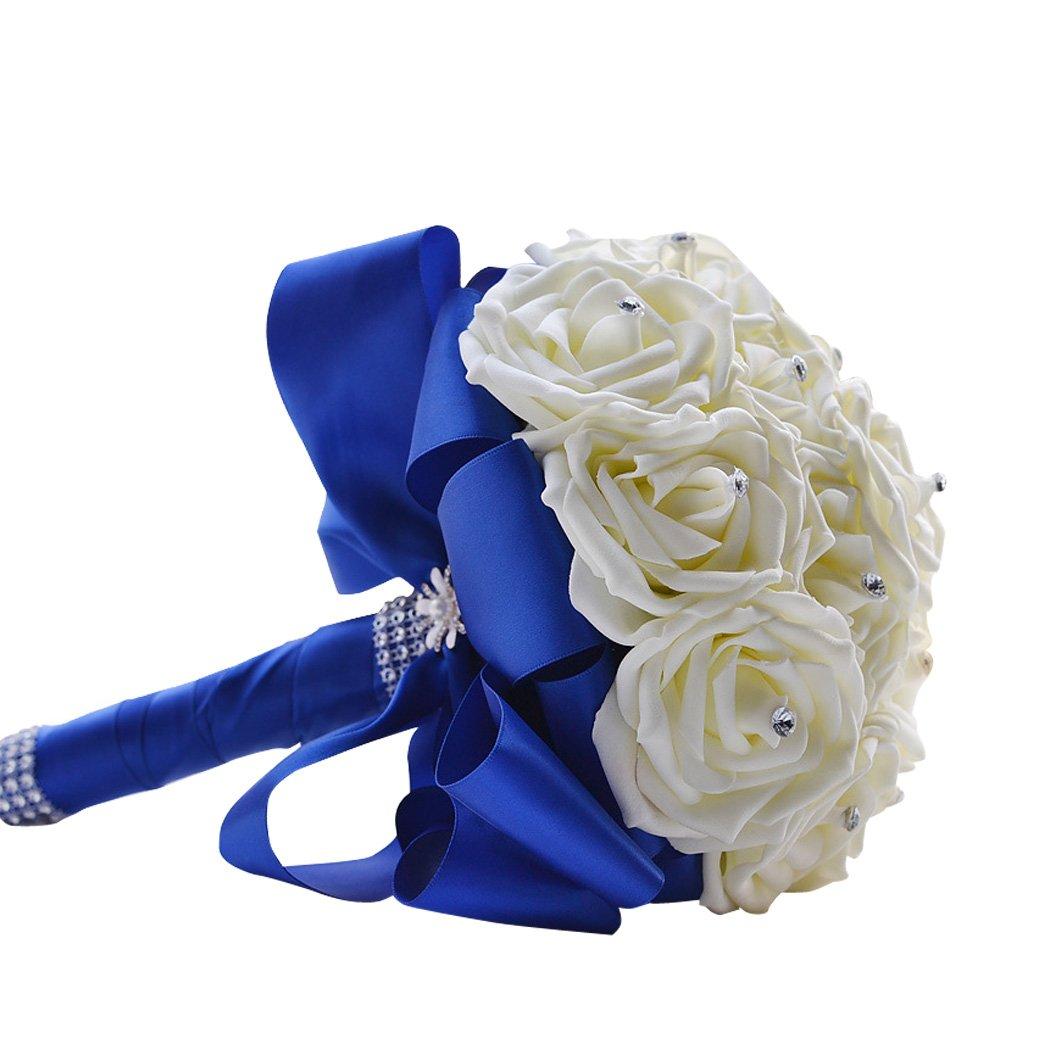 Amazon Sarahbridal Royal Blue Crystal Pearl Silk Rose Bridal