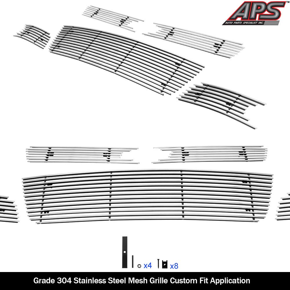 APS Compatible with 2006-2013 Chevy Impala Billet Grille Grill Insert Combo S18-A02976C