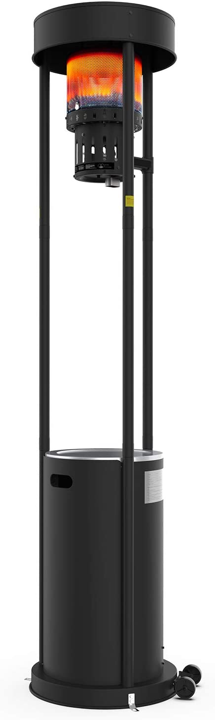 Terra Hiker 16 kW Commercial Gas Heater 55,000 BTUs Standing Garden Heater with Wheels for Restaurant Bar BBQ Using Propane or Butane or LPG Gas Gas Patio Heater 15-Minute Assembly Black