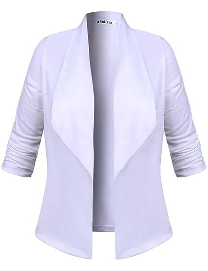 prix le plus bas b67bd e1d70 Blazer Femme Veste Gilet Cardigan Revers Fleuri Elégant Casual Manches 3/4  Blouson Jacket Basique Classique Ajusté Chic Slim Fit Costume de Bureau ...