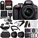 Nikon D3300 DSLR Camera with 18-55mm Lens (Black) + Sony 64GB UHS-I SDXC Memory Card (Class 10) + Remote + Flash + Cleaning Cloth Bundle