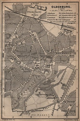 Amazoncom OLDENBURG antique town city stadtplan Lower Saxony