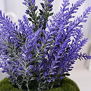 YSBER Artificial Flocked Lavender Bouquet Fake Flowers Bunch Bridal Home DIY Floor Garden Office Wedding Decor-Purple 4