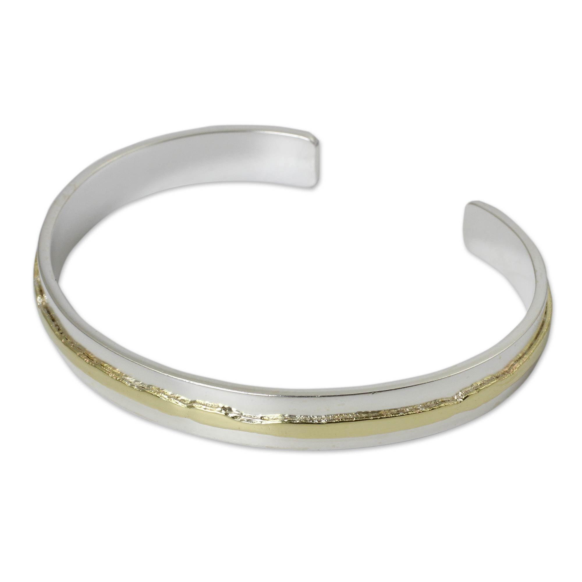 NOVICA 18k Gold Plated .925 Sterling Silver Cuff Bracelet 'Ripple Effect II'