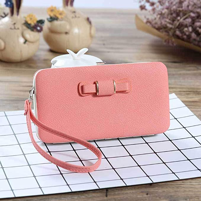 Taiguang Womens Bowknot Leather Wallet Purse Phone Case Card Holder Clutch