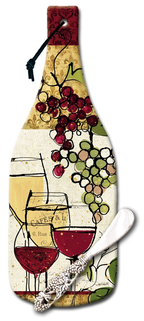 CounterArt Wine Bottle Shaped Wine Not Glass Cheese Board with Spreader Knife, 12-1/2-Inch