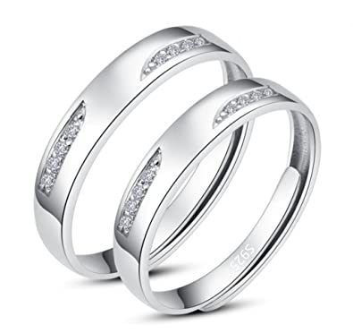 Infinite U Classical Love 925 Sterling Silver Couples Adjustable Rings for Engagement Size J to Z 4sCPwc