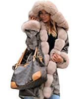 Roiii Thickened Dark Brown Faux Fur Amry Green Camouflage Parka Women Hooded Long Winter Jacket Overcoat Plus Size S-3XL