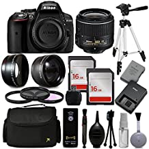 "Nikon D5300 DSLR Professional Digital Camera 1522 with 18-55mm + 30 PC Accessory Bundle Kit + 54"" Tripod + 32GB + Remote Control + 52mm UV-CPL-FLD Filter + Wide Angle Lens + Telephoto Lens + More"