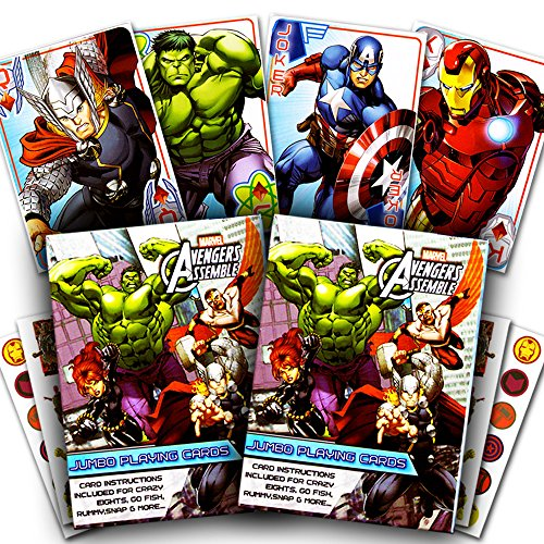 Marvel Avengers Playing Cards Set -- 2 Decks and Stickers (Avengers Card Games)