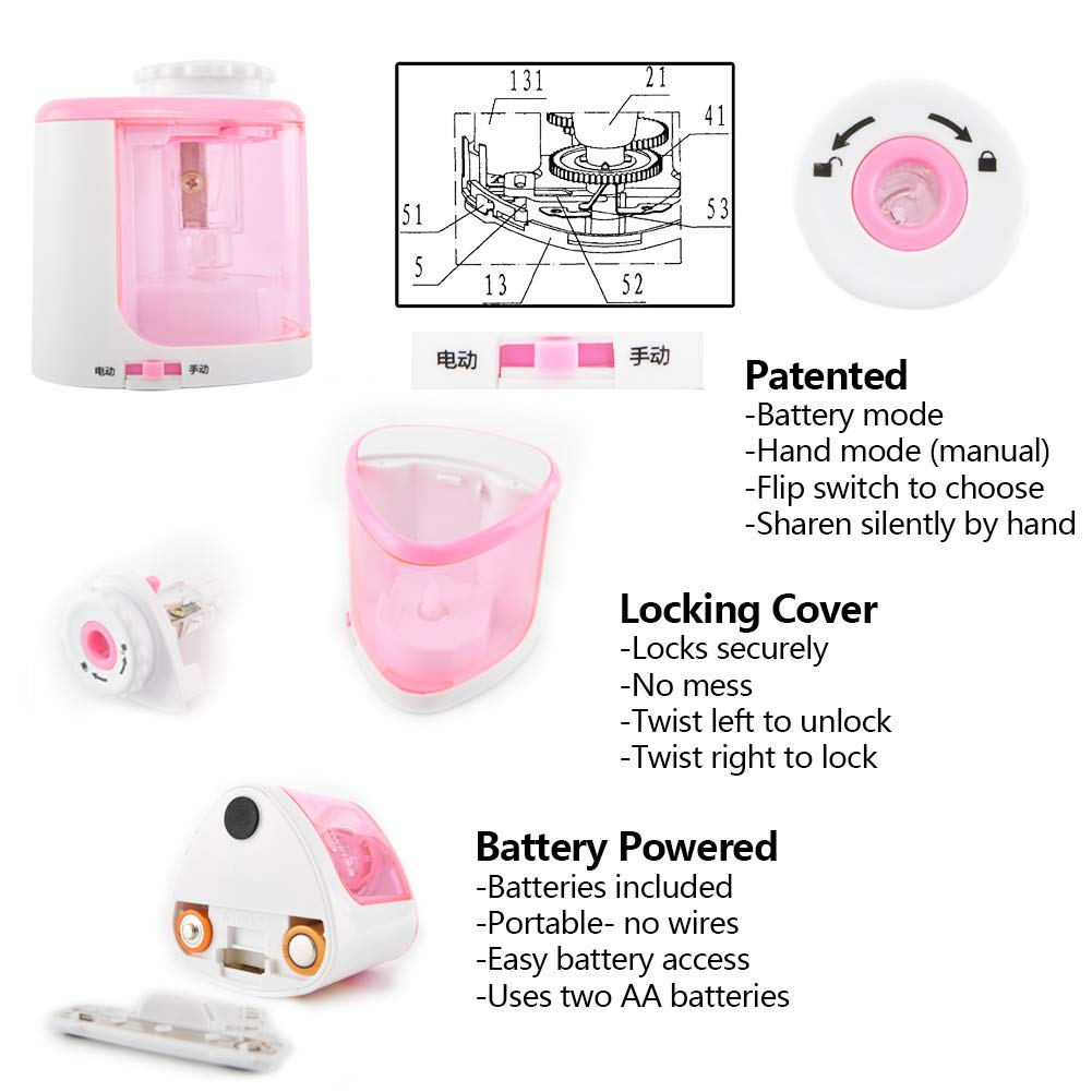 Electric Pencil Sharpener Pink with Auto Feature Heavy duty Blades Durable and Portable Automatic Sharpens All Pencils for School Kids Children Home Office Studio