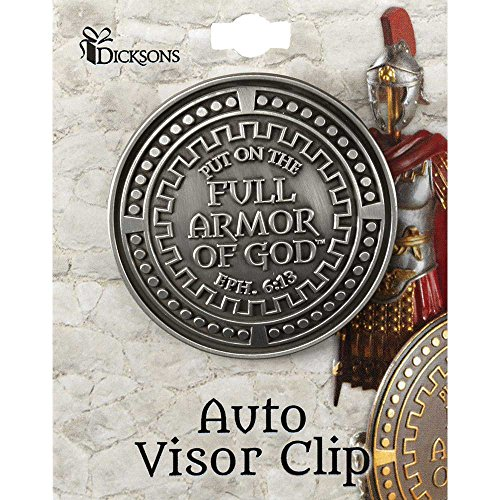 Dicksons Armor Of God Silver Toned 2 x 2 inch Zinc Alloy Epoxy Auto Visor Clip -