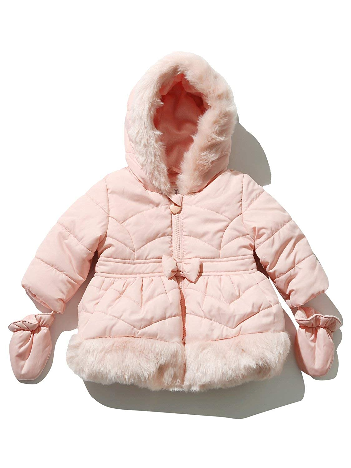 M&Co Baby Girl Long Sleeve Padded Fur Lined Pink Bow Front Winter Jacket with Detachable Mittens