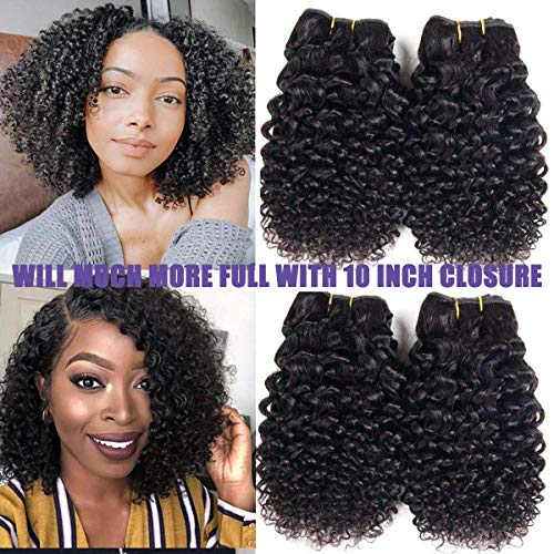 Luxnovolex Kinky Curly Human Hair Bundles Jerry Curly Brazilian Hair Weave 4 Bundles Unprocessed Natural Color Virgin Kinky Curly Hair Extensions 50g/pc Total 200g(10 10 10 10)