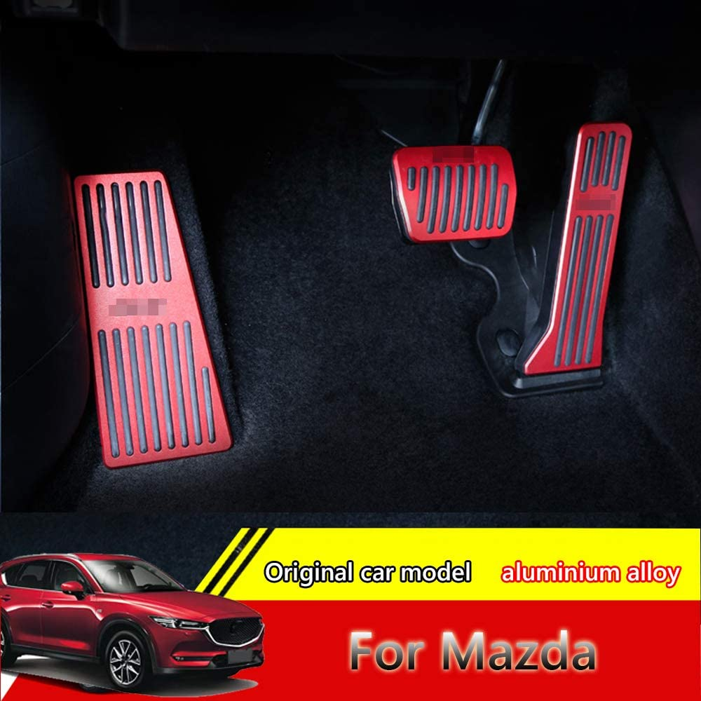 for Mazda 2 3 6 CX-3 CX-5 CX-9 red Great-luck aluminium alloy Pedal Covers,No Drilling Accelerator Pedals Brake Foot Pedal Pads with Rubber Pull Tabs 2 pieces//set