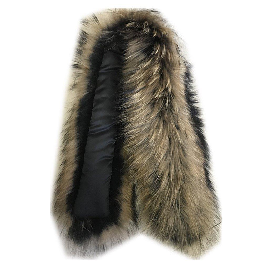 Black3 Extra Large Women's Raccoon Fur Collar for Winter Coat