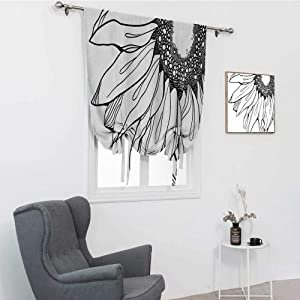 GugeABC Doodle Tie Up Window Valance, Part of a Sunflower in Black and White Botanical Garden Agricultural Growth Theme Balloon Shades Valance, Black White, 30