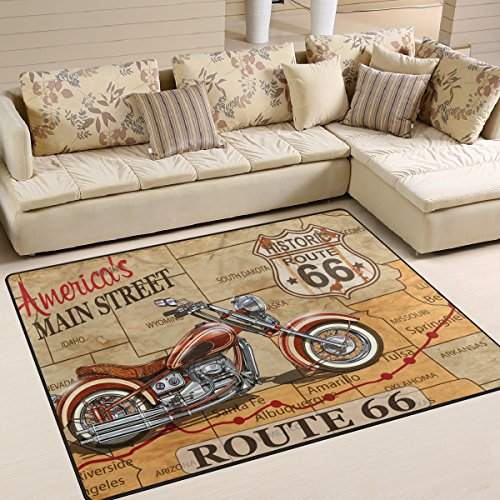 ALAZA Vintage American Route Motorcycle Poster Kids Area Rug,Old Highway Non-Slip Floor Mat Soft Resting Area Doormats for Living Dining Bedroom 5' x 7'