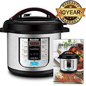 Becooker 11-in-1 Multi-Function Programmable Electric Pressure Slow Cooker, Stainless Steel Pot, 8 Quart, Black