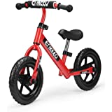 ENKEEO 12 Sport Balance Bike No Pedal Walking Bicycle with Carbon Steel Frame, Adjustable Handlebar and Seat, 110lbs Capacity for Ages 2 to 6 Years Old