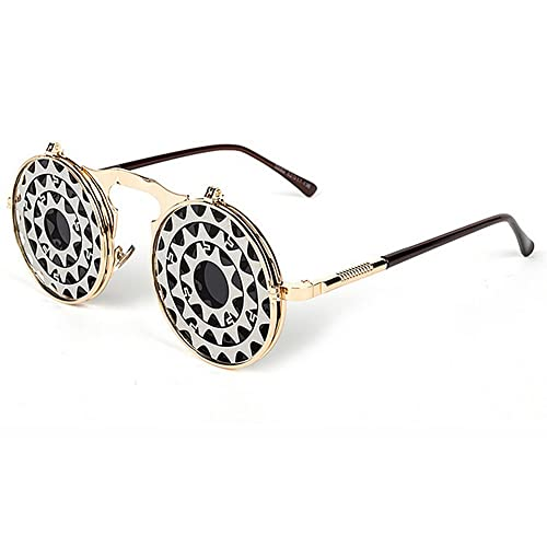 Fenck Fashion Steam Punk Round Metal Sunglasses Women Circle Lens Round Sun Glasses 8 Colors Men Retro Vintage Glasses Goggles