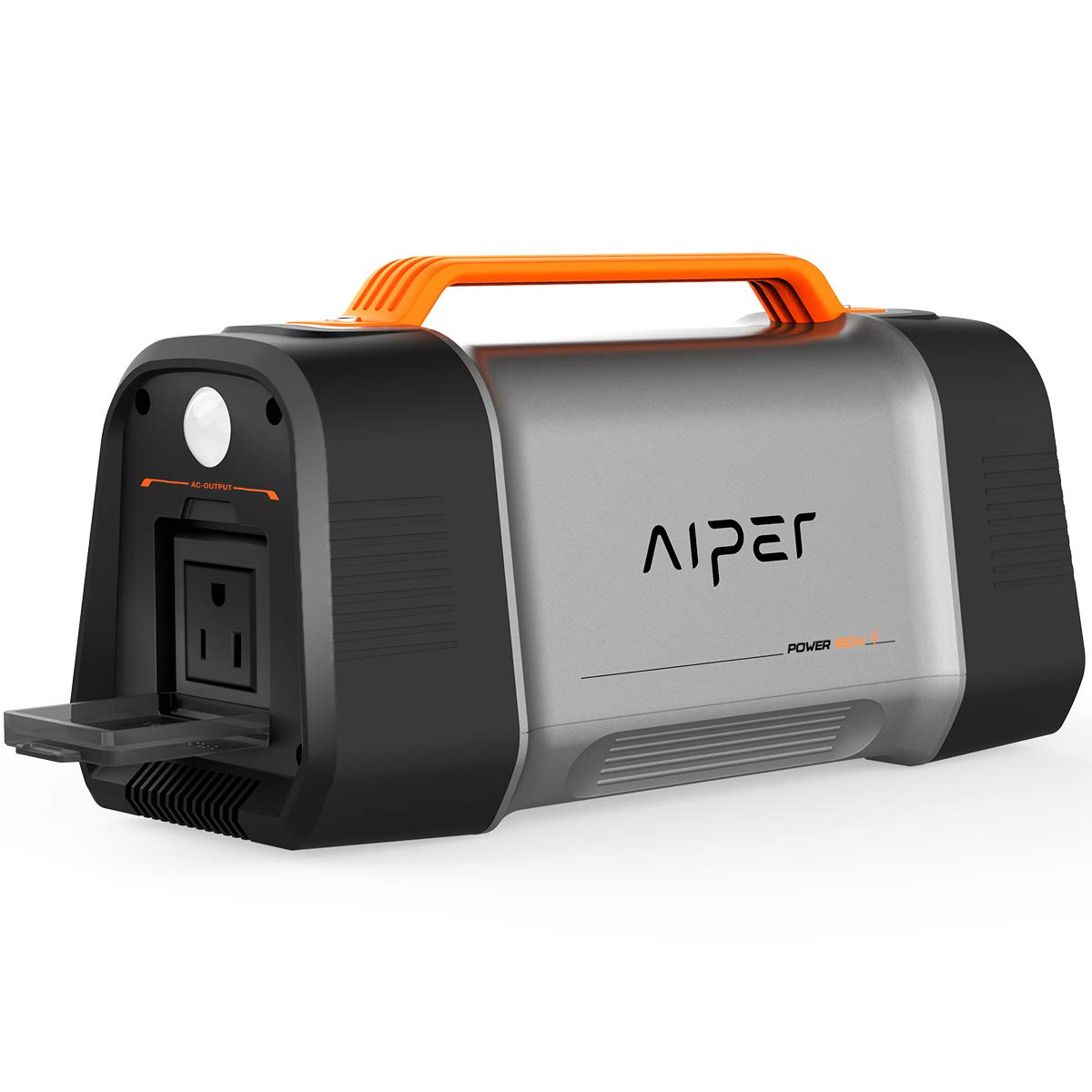 AIPER Portable Power Station Flash 150, 162Wh Solar Generator Lithium Battery Backup Power Supply with 110V/150W(Peak 200W) AC Outlet, QC3.0 USB, Car Port, LED Flashlight for Home Emergency Camping by AIPER