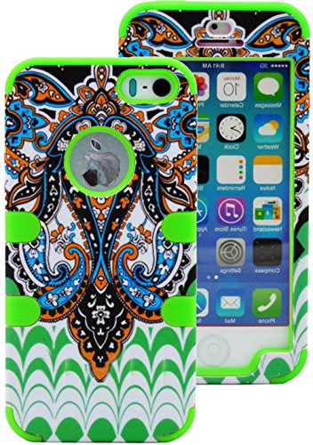 myLife Bright Green - Retro Paisley Series (Neo Hypergrip Flex Gel) 3 Piece Case for iPhone 5/5S (5G) 5th Generation iTouch Smartphone by Apple (External 2 Piece Fitted On Hard Rubberized Plates + Internal Soft Silicone Easy Grip Bumper Gel)