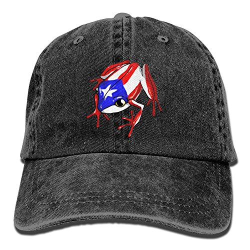 - YICHIBAOEL Men&Women Puerto Rico Flag Frog Adjustable Vintage Washed Denim Cotton Dad Hat Baseball Hat Navy