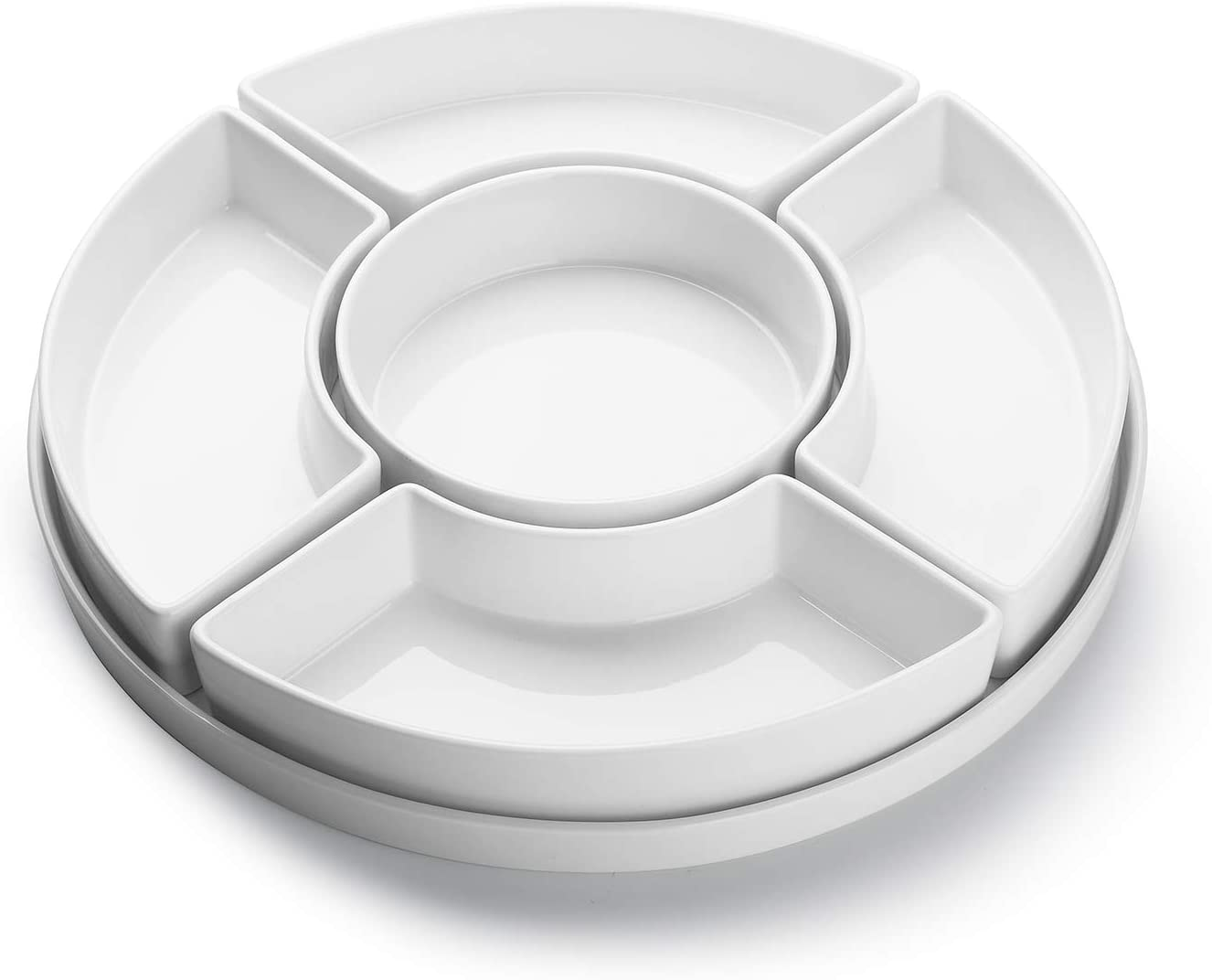 Sweese 707.001 Porcelain Divided Serving Dishes, Relish Tray, Serving Bowls for Parties - Perfect for Chips and Dip, Veggies, Candy and Snacks