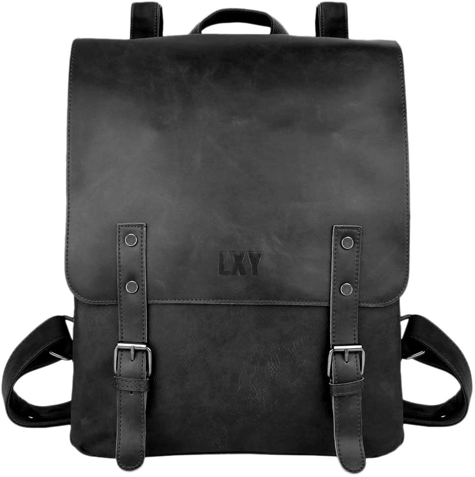LXY Vegan Leather Backpack Vintage Laptop Bookbag for Women Men, Black Faux Leather Backpack Purse College School Bookbag Weekend Travel Daypack