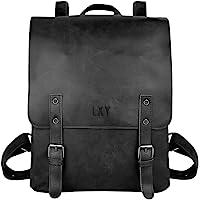LXY Vegan Leather Backpack Vintage Laptop Bookbag for Women Men