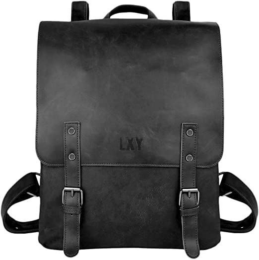 : LXY Vegan Leather Backpack Vintage Laptop