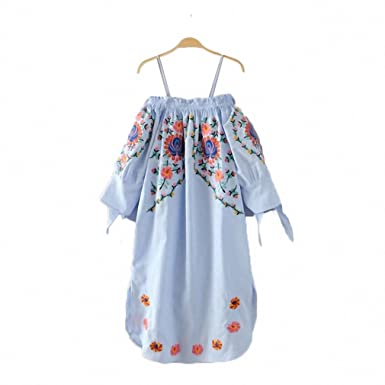 women off shoulder flower embroidery spaghetti strap dress bow tie sleeve side split ladies casual dresses vestidos QZ2964