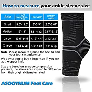 ASOONYUM Compression Ankle Sleeve Support for Basketball Running - Ankle Brace for Injury Recovery, Joint Pain, Plantar Fasciitis Foot Socks with Arch Support, Heel Spurs, Achilles tendon by