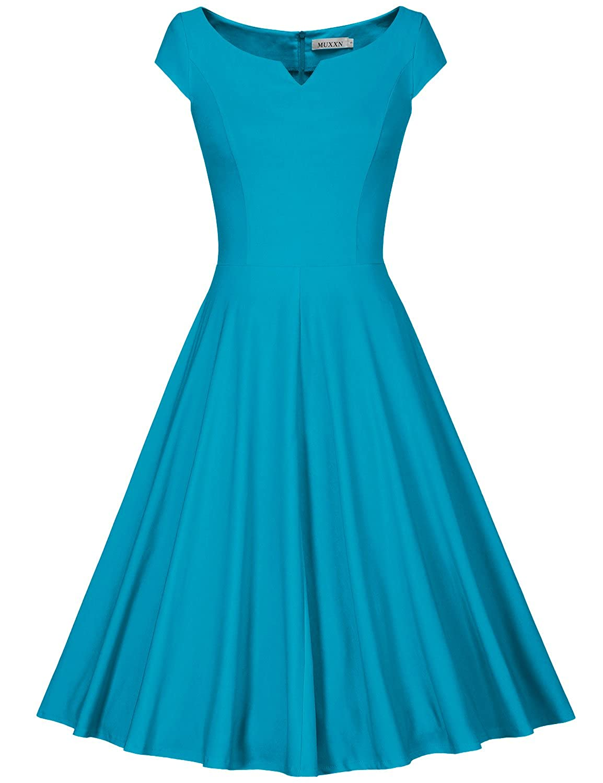 MUXXN Women's 50s Vintage Elegant Boat Neck Bridesmaid Swing Dress