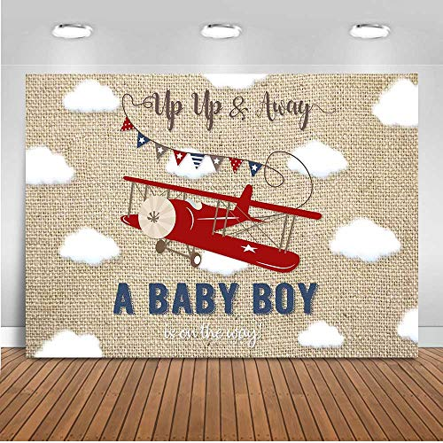 Mocsicka Vintage Aircraft Baby Shower Backdrop 7x5ft Old Plane It