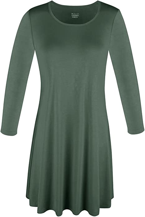 Womens Tops Round Neck Long Sleeve Relaxed Fit Tunic Swing T-Shirt
