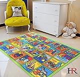 HR LEARNING ABCD NON SLIP/ GEL BACK KIDS BEDROOM / CLASSROOM AREA RUG CARPET (8 FT X 11 FT)