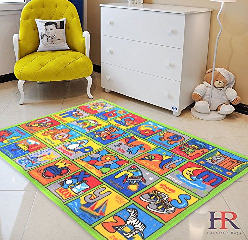 HR LEARNING ABCD NON SLIP/ GEL BACK KIDS BEDROOM / CLASSROOM AREA RUG CARPET (5 FT X 7 - Mall Stores Orange Park